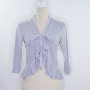 Guinevere Front Bow Ruffled Cardigan Sweater